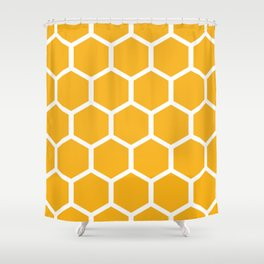 Honeycomb pattern - yellow Shower Curtain