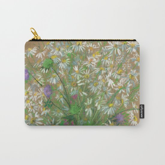 """Meadow flowers"", white daisies, floral art, pastel drawing Carry-All Pouch"