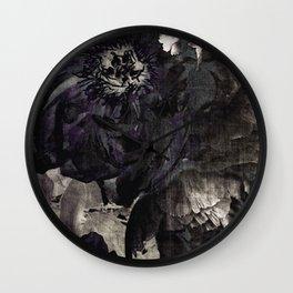 goth peony Wall Clock