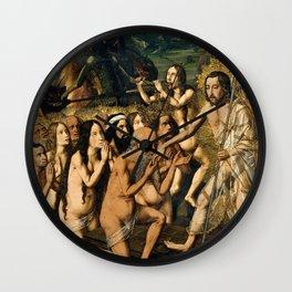 Descent of Christ into Limbo by Bartolome Bermejo, 1475 Wall Clock