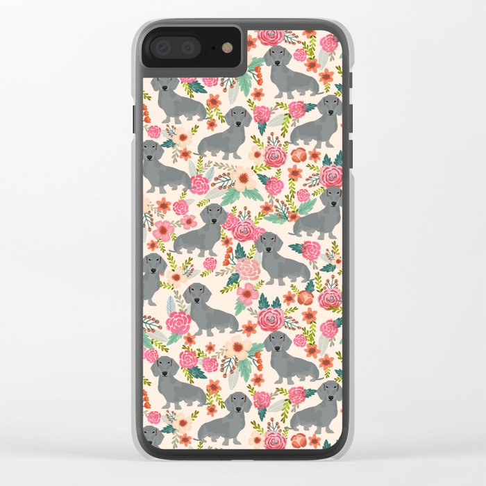 Dachshund florals grey doxie dachsie pattern with flowers cute gifts for wiener dog owners Clear iPhone Case
