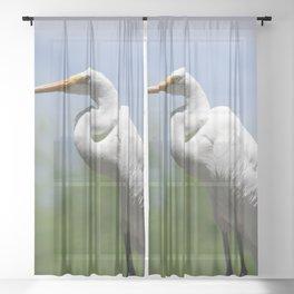 Great Egret Three - Utah Sheer Curtain