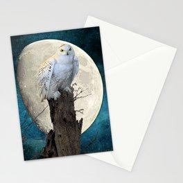 White Snowy Owl Bird Moon Blue A141 Stationery Cards