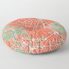 Madrid city map classic Floor Pillow