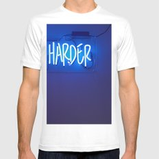 work harder Mens Fitted Tee White MEDIUM