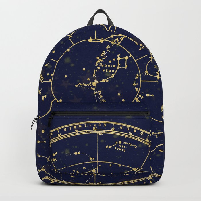 Metallic Gold Vintage Star Map 3 Backpack