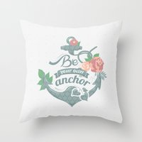 anchor Throw Pillows featuring Anchor by siny