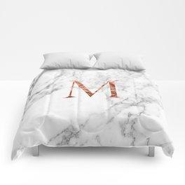 Monogram rose gold marble M Comforters