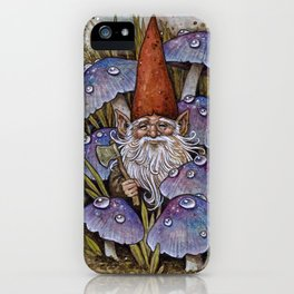 Gnome Among Purple Mushrooms iPhone Case