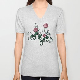 Hummingbird Vines Dark Floral Unisex V-Neck