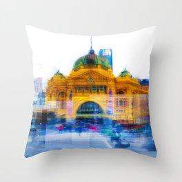 Flinders Street Photo Montage Throw Pillow
