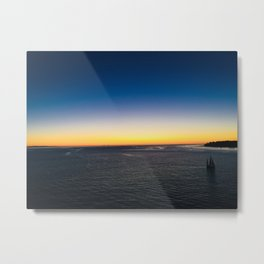 Harbor Sunset and Sailboat in the Pacific Ocean Metal Print