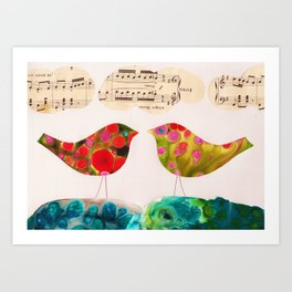 I Hear Two Birds Art Print