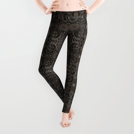 Curves & lotuses, abstract floral pattern, charcoal black, dark brown and taupe Leggings