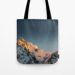 Last light before sunset on mountains Tote Bag