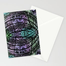 Tribal Fish drawing Stationery Cards