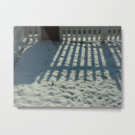 Snow Fence Reflection Metal Print