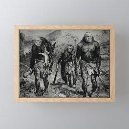 Vintage Poster - Richard Nixon, Spiro Agnew, and J. Edgar Hoover as prehistoric men (1971) Framed Mini Art Print