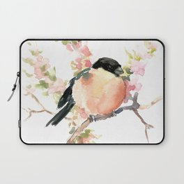 Bullfinch and Spring, Peach colored Floral bird art, spring soft colors Laptop Sleeve
