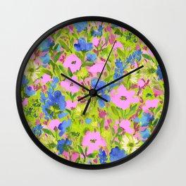Wild GardenPink on Lime Wall Clock