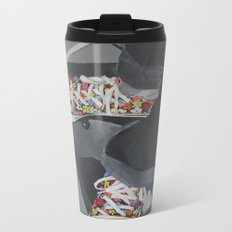 Flowered Converse shoes on a swing Metal Travel Mug