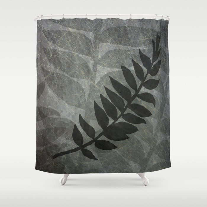 Pantone Lilac Gray Abstract Grunge with Fern Leaf - Foliage Silhouettes Shower Curtain