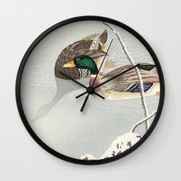 Mallard Ducks Diving - Japanese Vintage Woodblock Print Wall Clock