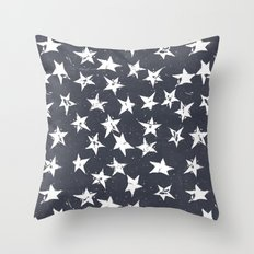 Linocut Stars - Navy & White Throw Pillow