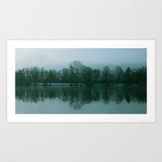 Lake. Reflections. Green Art Print