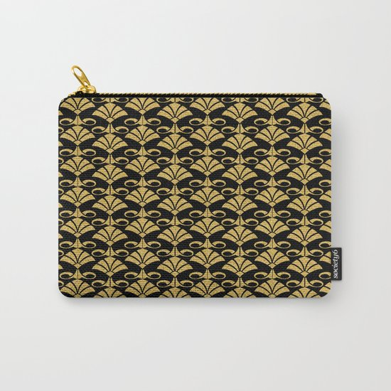 Wonderful gold glitter art deco pattern on black backround I- Luxury design for your home Carry-All Pouch