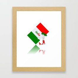 Elegant Italia - Italy Flag And Map Framed Art Print