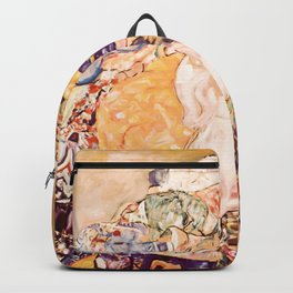 Baby by Gustav Klimt 1908 // Color Enhanced Oil Canvas Painting of Child Covered in Colorful Fabrics Backpack
