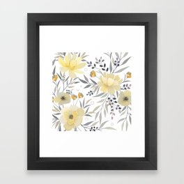 Modern, Floral Prints, Yellow, Gray and White Framed Art Print