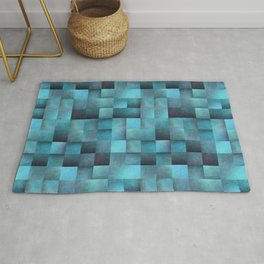 Tiled Pattern Shades Of Blue Rug