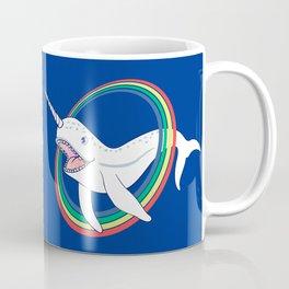 Cute Horn Narwhal With Rainbow Cartoon Coffee Mug