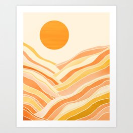 Golden Mountain Sunset Art Print