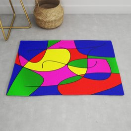 ABSTRACT CURVES #1 (Multicolor Bright) Rug