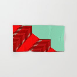 Line pattern, zigzagging with red and green Hand & Bath Towel