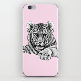 Amur tiger cub - pink iPhone Skin