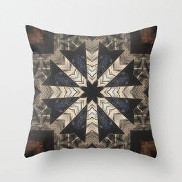 Canyon de Chelly // Black White Rustic Bohemian Star Geometric Quilt Hippy Vintage Boho Gypsy Folk Throw Pillow
