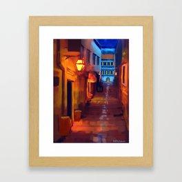 Italian Street at Night Framed Art Print