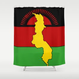 Malawi Map on a Malawian Flag Shower Curtain
