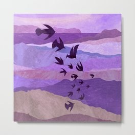 Purple Mountains Birds Take Flight Metal Print