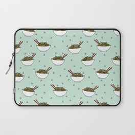 Noods pattern food kitchen asian noodle bowl illustration mint Laptop Sleeve