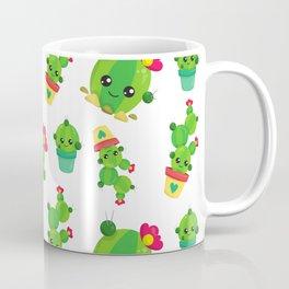 Cactus Pattern, Cute Cactuses, Smiling Cactuses Coffee Mug