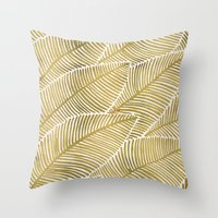 tropical Throw Pillows featuring Tropical Gold by Cat Coquillette