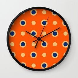 Polka Dot Pattern 241 Orange Blue Wall Clock