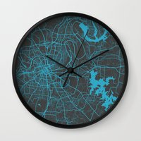 nashville Wall Clocks featuring Nashville by Map Map Maps