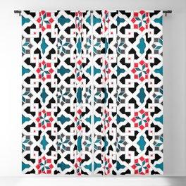 Oriental Pattern - Geometric Design, red / blue / grey Blackout Curtain