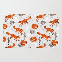 foxes Area & Throw Rugs featuring Foxes by Paper Bicycle